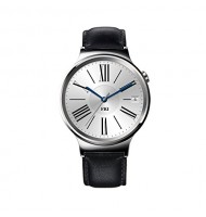 Huawei Watch Stainless Steel with Black Suture Leather Strap (U.S. Warranty